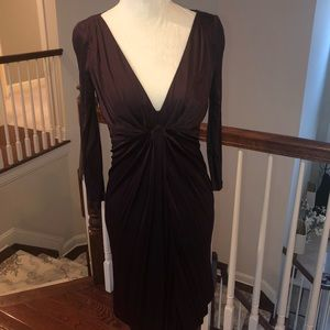 Beautifully fitted, plunging cocktail dress